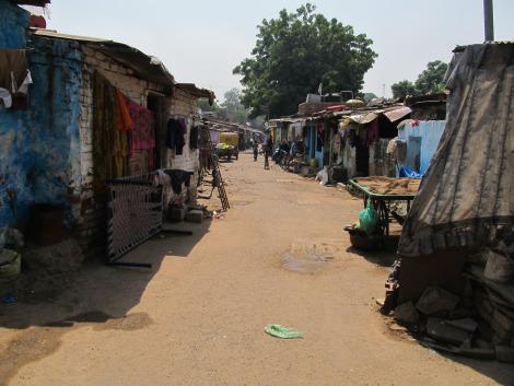 Slum community in India.