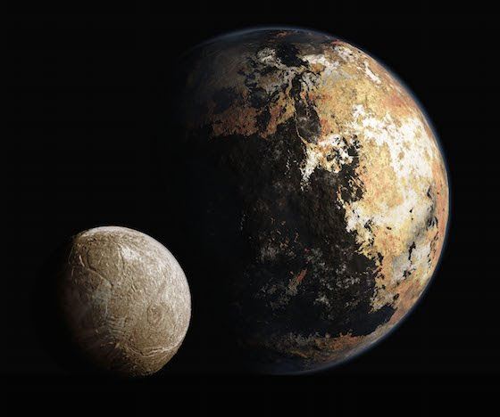 Artist's impression of Pluto and Charon's surfaces (via SETI and Mark Showalter)
