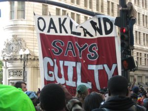 Photo from the gathering in downtown Oakland to protest the verdict in the Oscar Grant trial, July 8, 2010