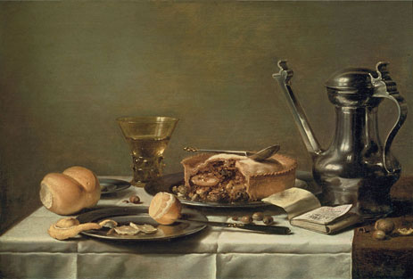 Pieter Claesz (c1630) Still Life with Pewter Pitcher, Mince Pie, and Almanac